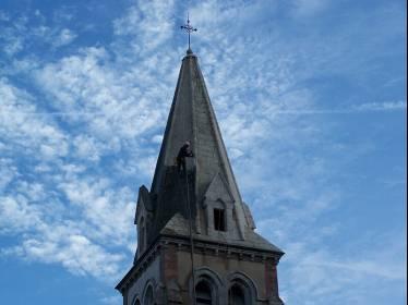 Rénovation façade & hydro-gommage clocher - Eglise de Lanne